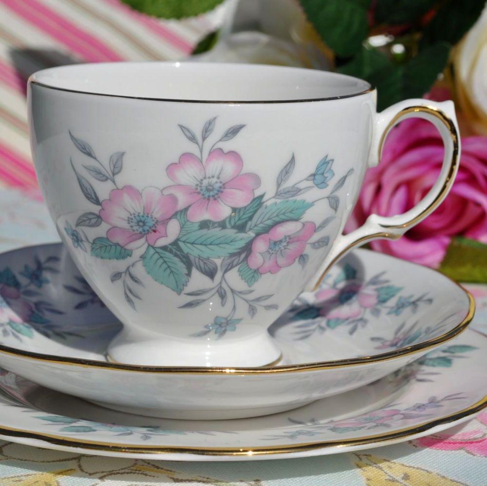 Colclough Coppelia Vintage Pastel Blue and Pink Teacup Trio