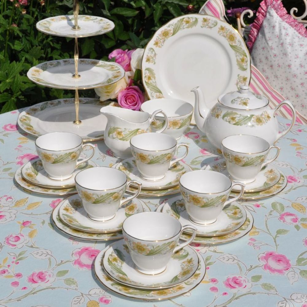 Duchess Greensleeves Vintage China Tea Set with Teapot and Cake Stand