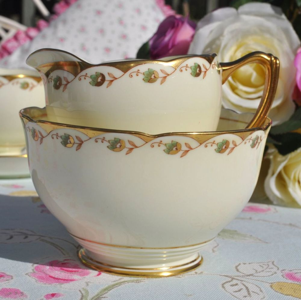 Grafton China Cream, Gold and Moss Green Vintage Milk Jug and Sugar Bowl