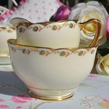 Grafton China Cream, Gold and Moss Green Vintage Milk Jug and Sugar Bowl c. 1935+