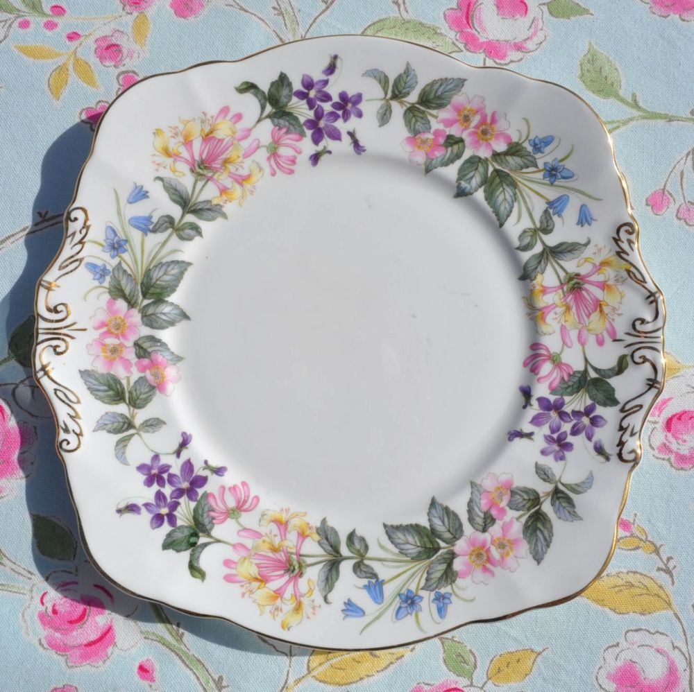 Paragon Country Lane English Fine Bone China Square Bread or Cake Plate