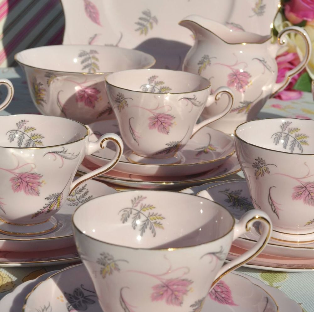 Tuscan China Pink Windswept Pattern Tea Set for Six c.1947+