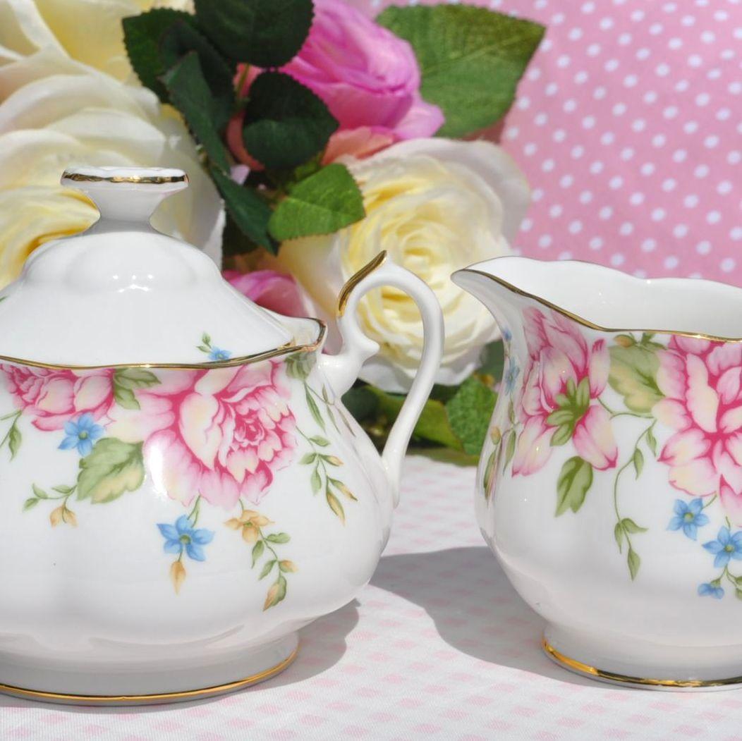 Royal Albert English Rose Bone China Cream Jug and Sugar Bowl