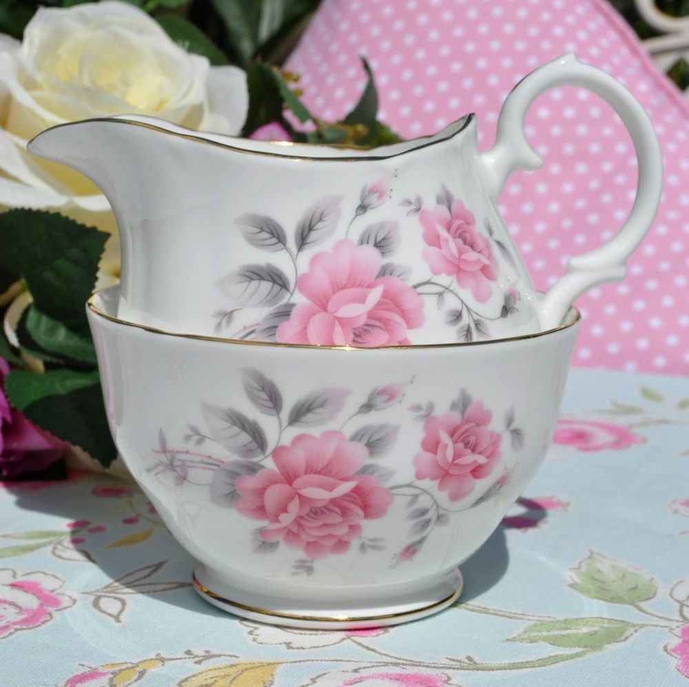 Duchess Pink Roses Vintage Milk Jug and Sugar Bowl c.1950's