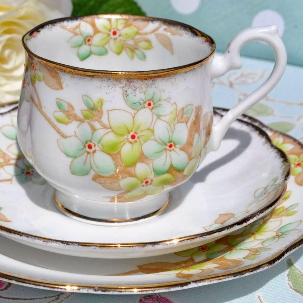 Royal Albert Crown China 1827 Green Blossom Vintage Teacup Trio c.1927+