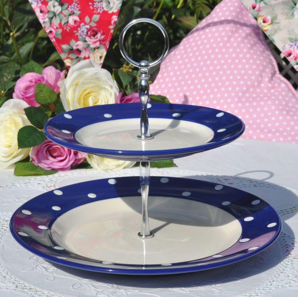 Spode Blue Polka Dot 2 Tier Cake Stand