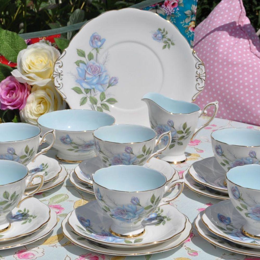 Royal Standard Fascination Pale Blue Bone China Vintage Tea Set for Six
