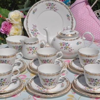 Royal Grafton Vintage Fine English China Floral and Gold Tea Set with Teapot c.1950's