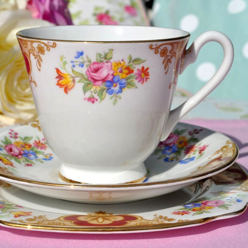 Windsor China Colourful Floral Vintage Teacup Trio c.1960's