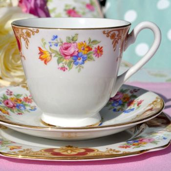 Windsor China Colourful Floral Teacup Trio c.1960's