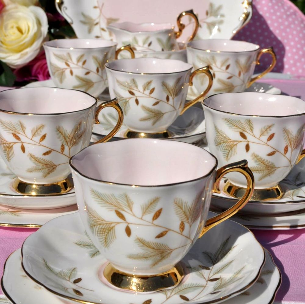 Royal Albert Braemar Pink and Gold Vintage Tea Set for Six with Cake Plate