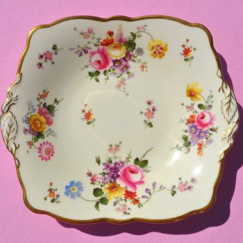 Cauldon China Cream and Floral Vintage Cake Plate