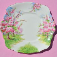 Royal Albert Blossom Time Cake or Sandwich Plate Crown China c.1935
