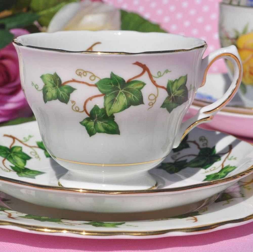 Colclough Green Ivy Leaf Vintage China Teacup Trio Square Plate c.1962+