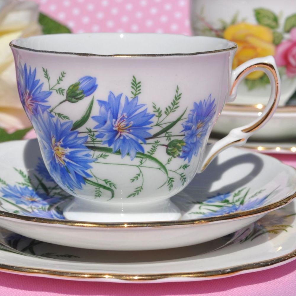 Royal Vale Cornflower Teacup Trio