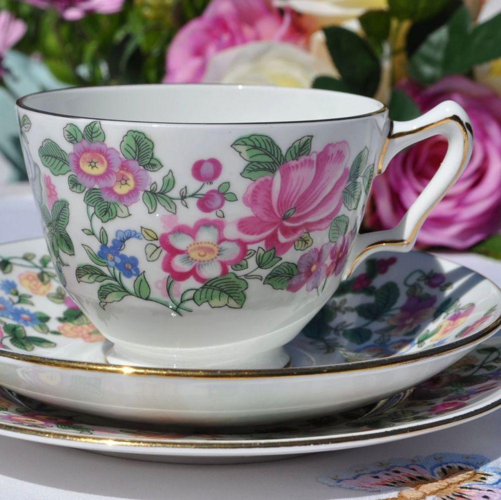 Crown Staffordshire Thousand Flowers Vintage Tea Cup Trio c.1930s