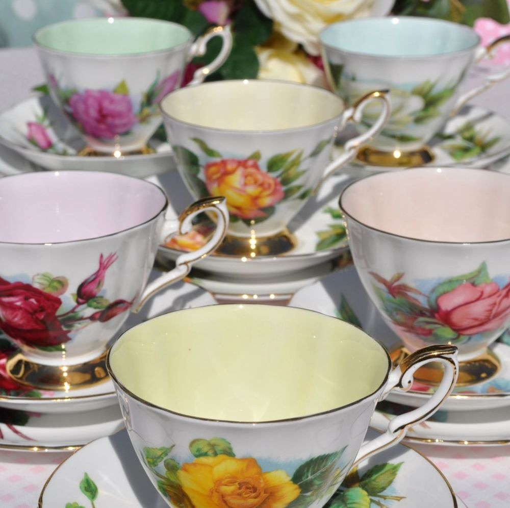 Six World Famous Roses Harry Wheatcroft Vintage Tea Set