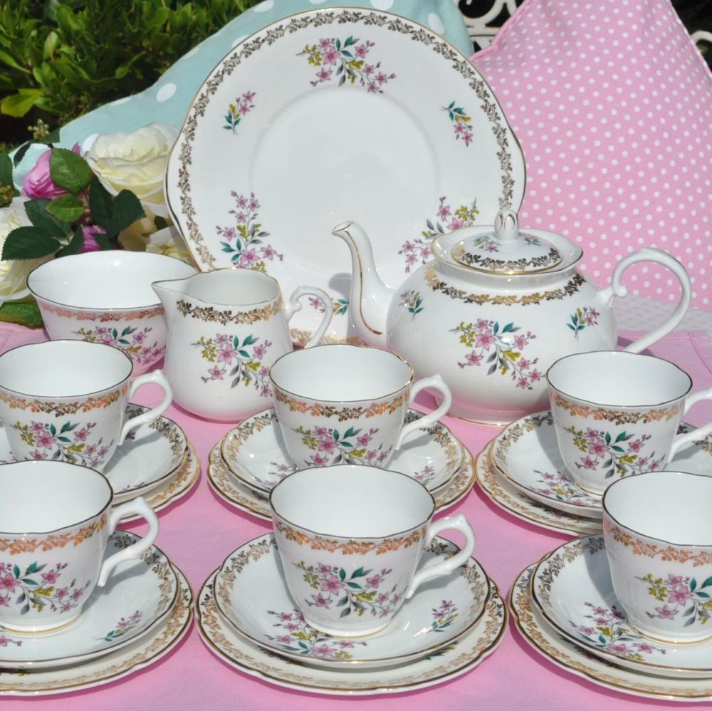 Royal Grafton Vintage China Floral Pink and Gold Tea Set c.1950's