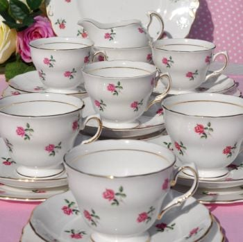 Colclough Fragrance Ditsy Roses Vintage Tea Set for Six with Cake Plate