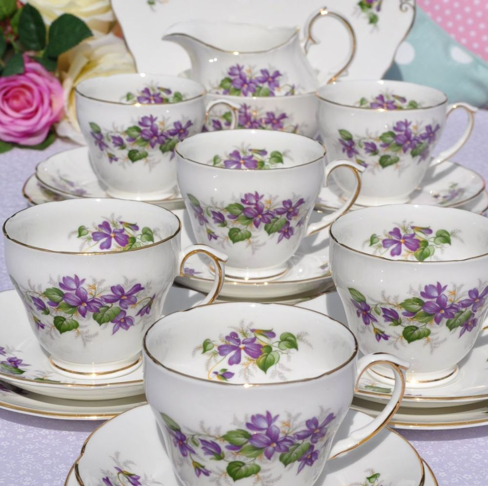 Duchess Violets Bone China Vintage Tea Set with Cake Plate c.1960's