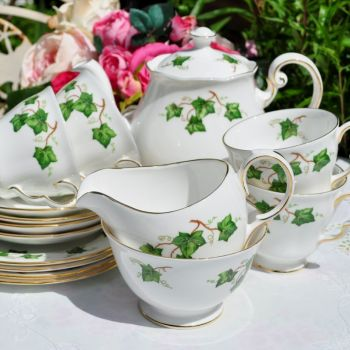 Colclough Green Ivy Leaf 15 Piece Tea Set c.1960s