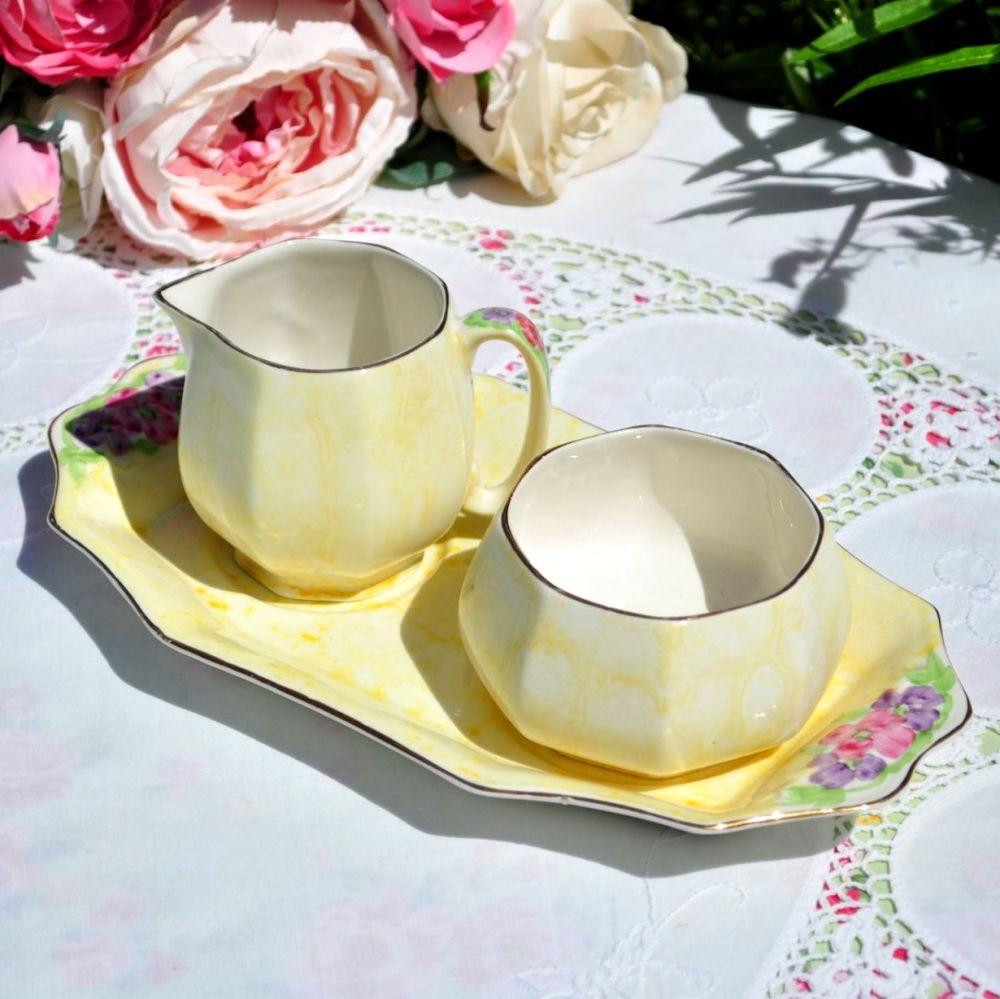 James Kent Yellow Wash Milk Jug and Sugar Bowl with Tray c.1940s