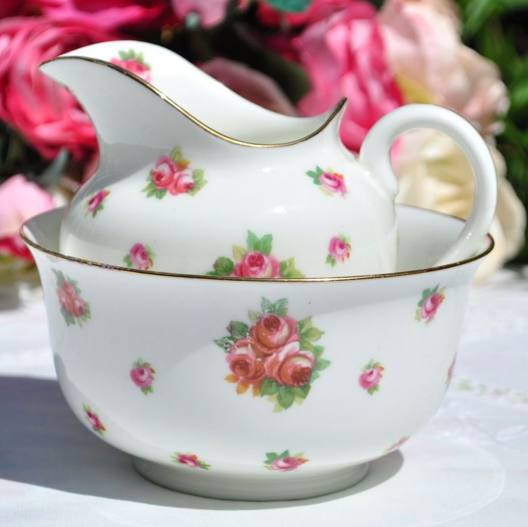 Royal Doulton Scattered Roses Milk Jug and Sugar Bowl