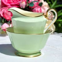 Roslyn Green and Cream Milk Jug and Sugar Bowl