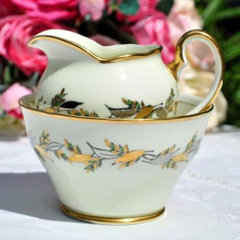 Salisbury Silver and Gold Leaves Milk Jug and Sugar Bowl