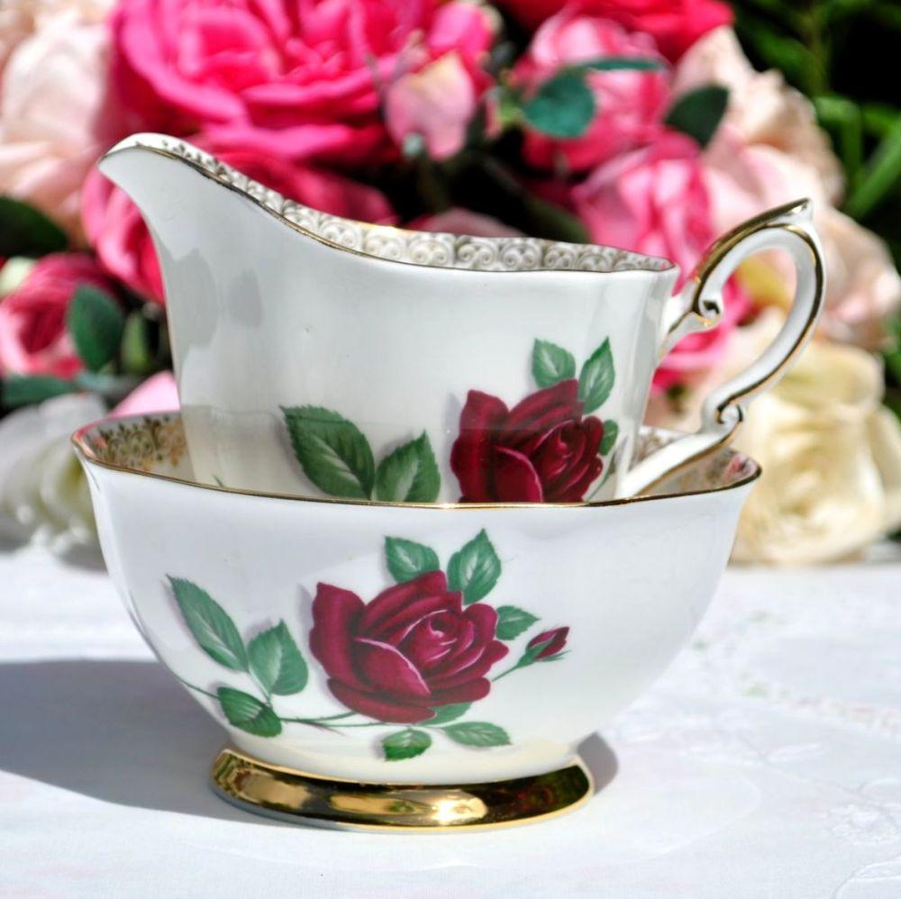 Royal Standard Red Velvet Milk Jug and Sugar Bowl