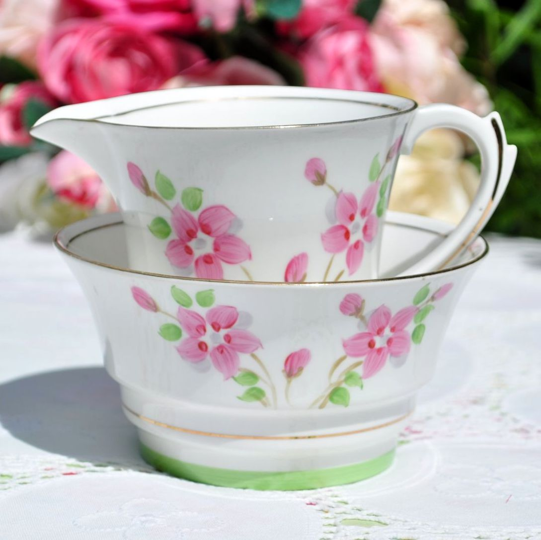 Roslyn Hand Painted Milk Jug and Sugar Bowl