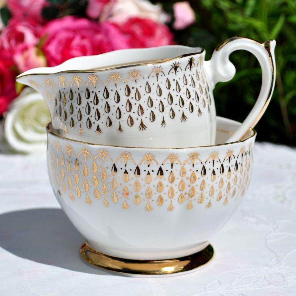 Queen Anne Golden Raindrops Milk Jug and Sugar Bowl