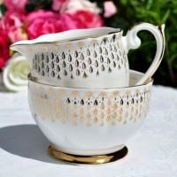 Queen Anne Golden Raindrops Milk Jug and Sugar Bowl