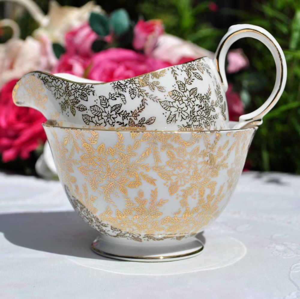 Royal Vale Gold Filigree Milk Jug and Sugar Bowl