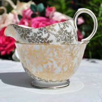 Royal Vale Gold Filigree Milk Jug and Sugar Bowl