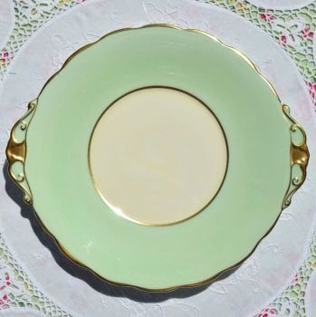 Roslyn Green and Cream Cake Plate c.1950s