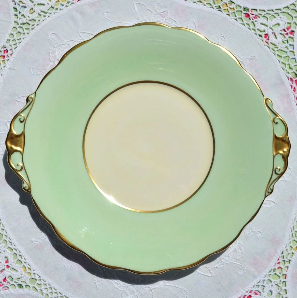 Roslyn Green and Cream Cake Plate