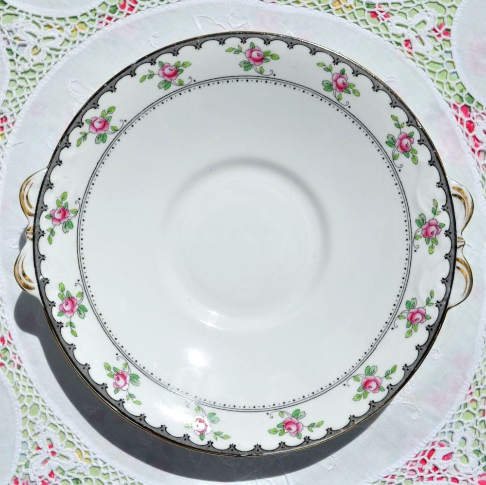 Tuscan Antique Pink Roses Cake Plate