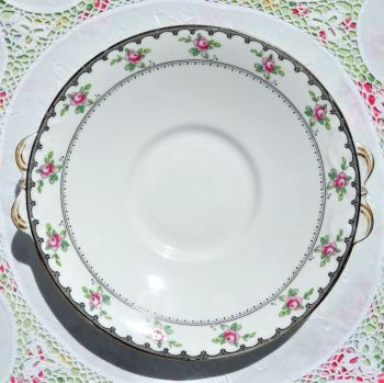 Tuscan Antique Pink Roses Cake Plate c.1910