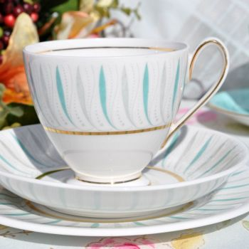 Ridgway Caprice Duck Egg and Grey Pattern China Teacup Trio c.1960s