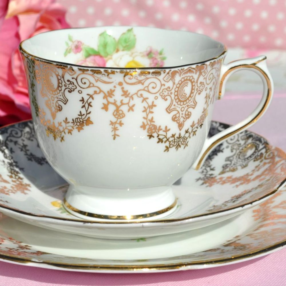 Collingwood Yellow and Pink Roses and Gold Filigree Teacup Trio c.1940s