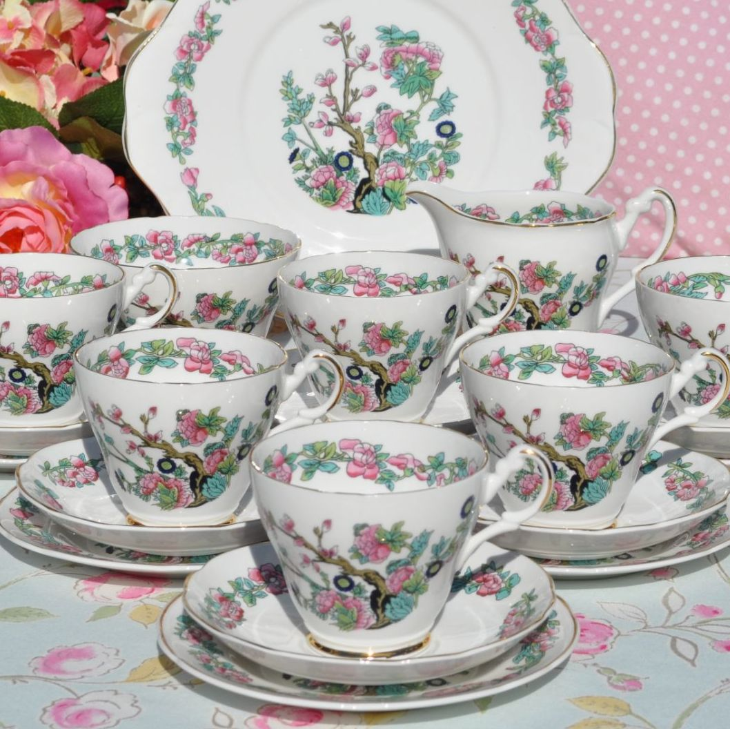 Argyle Indian Tree Pattern 21 Piece Tea Set 1960s Bone China