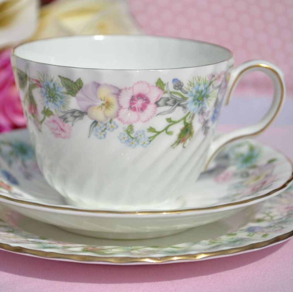 Aynsley Wild Tudor Floral Fine Bone China Teacup Trio