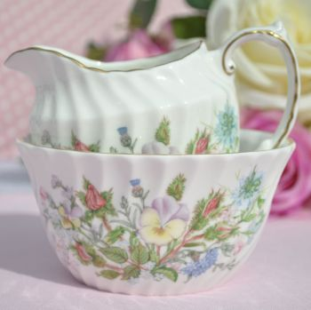 Aynsley Wild Tudor Milk Jug or Creamer and Open Sugar Bowl