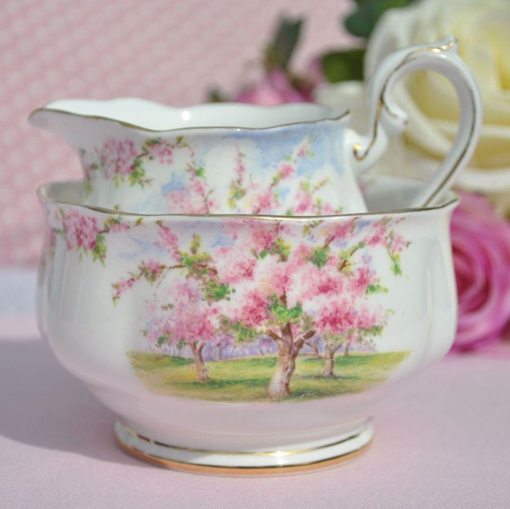 Royal Albert Blossom Time Milk Jug and Sugar Bowl Reg. No.799933 c.1935