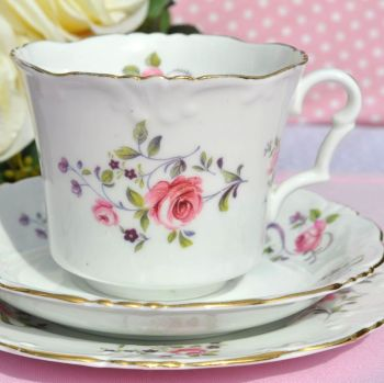 Collingwood Frilly Rim Pretty Pink Roses Vintage Bone China Teacup Trio c.1930s