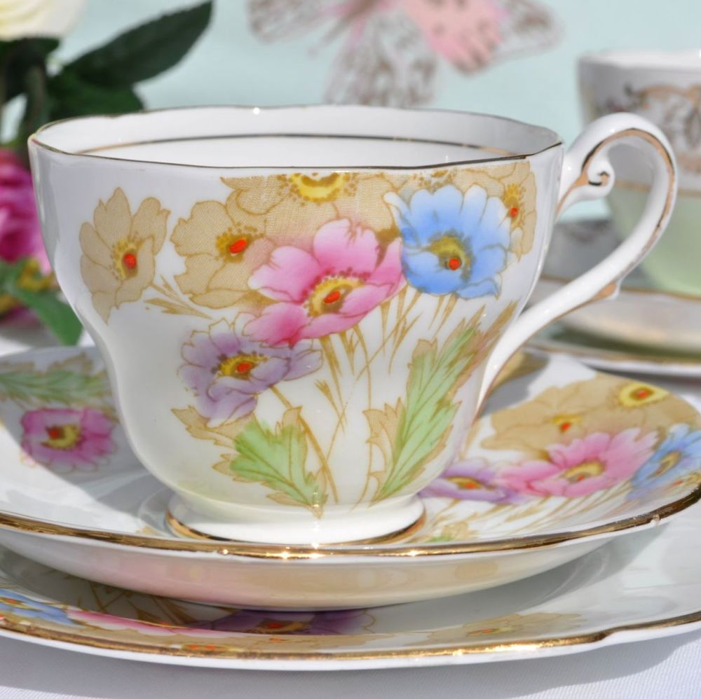Royal Standard Somerset Hand Painted Anemones Vintage China Teacup Trio