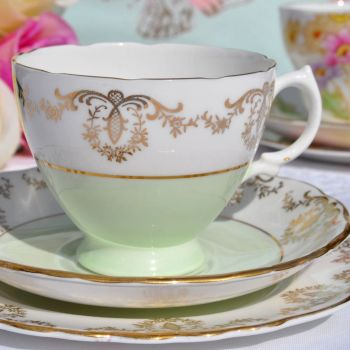 Royal Vale Green and Gold Filigree Teacup Trio