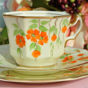 Radfords Art Deco Hand Painted Octagonal Shaped Bone China Teacup Trio c.1928+