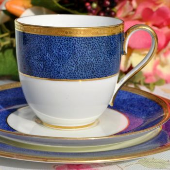 Antique Cauldon Cobalt Blue and Gold Bone China Teacup Trio c.1900s